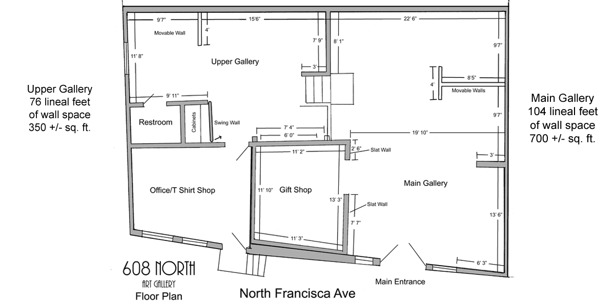 608 NORTH art gallery floor plan